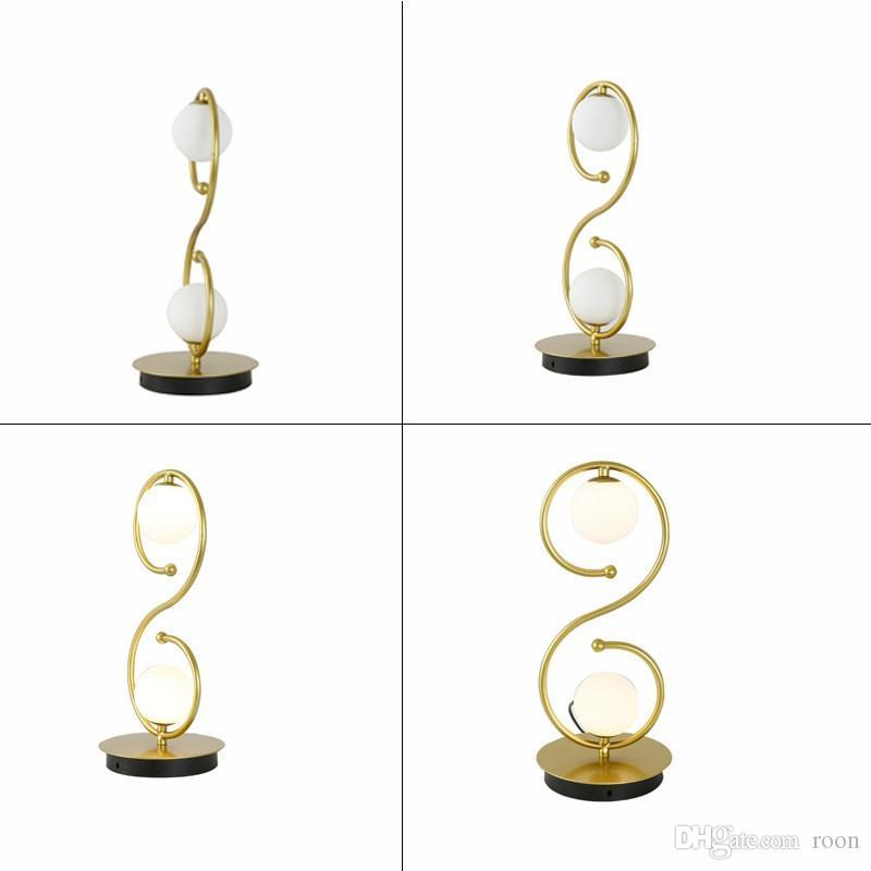 Nordic Modern Home Comodino lampada creativa degli occhi Protezione lampada curva a S della sfera di vetro Caldo Desk Lamp, Support Agent trasporto di goccia
