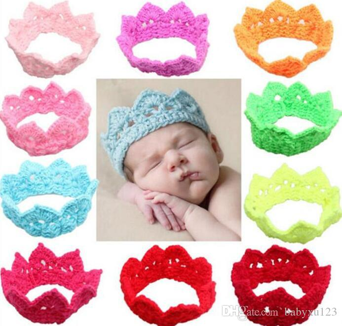 500pcs Newborn Baby Girl Boy Crochet Knit Princess Crown Headband Hats children Plush imperial crown hairband Y233