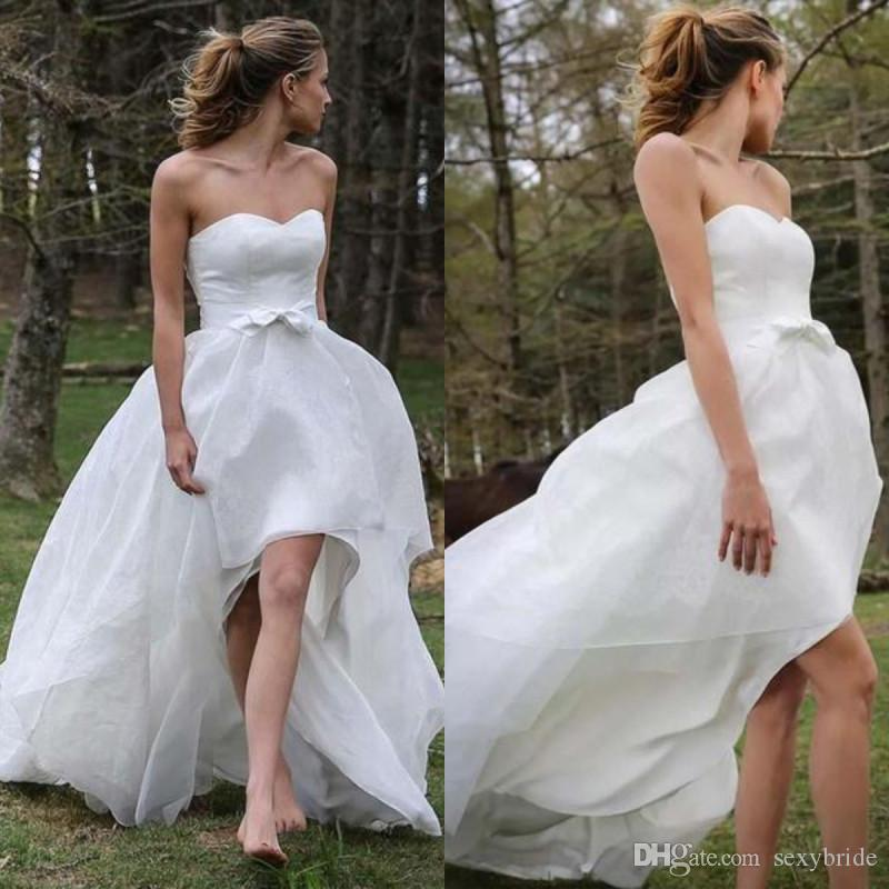New Sexy Strapless Hi Low chiffon Wedding Dresses A Line Short Front Long Beach Bridal Gowns Simple Bohemian Boho Wedding Dress