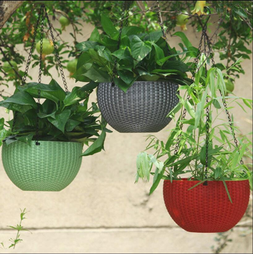 Hanging Flower Pot Chain Plastic Waven Planter Basket Garden Flexible Innovative Basket Flower Pot Home Decoration 72pcs OOA5086