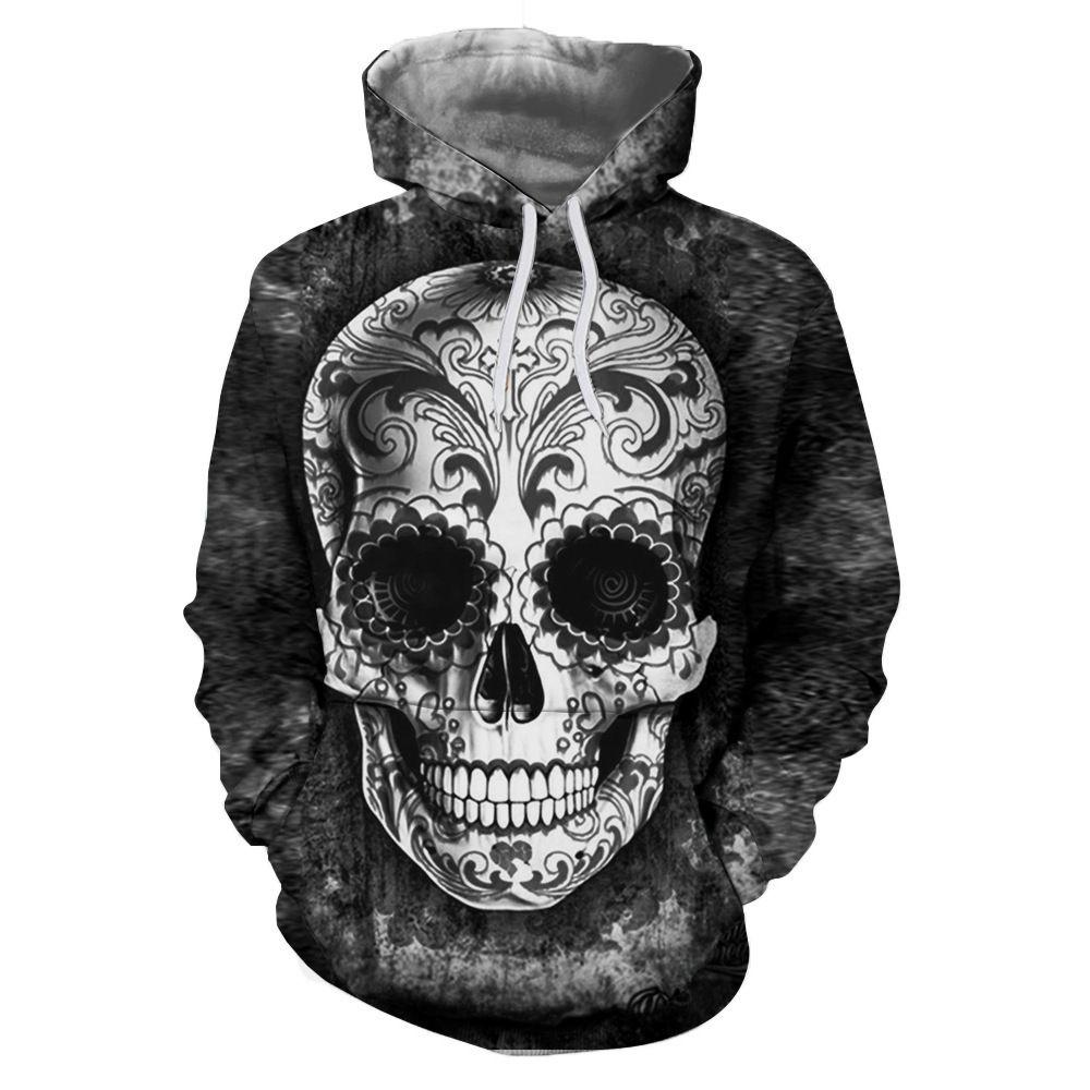 Boys Brazil Flag Skull Patterns Print Athletic Pullover Tops Fashion Sweatshirts