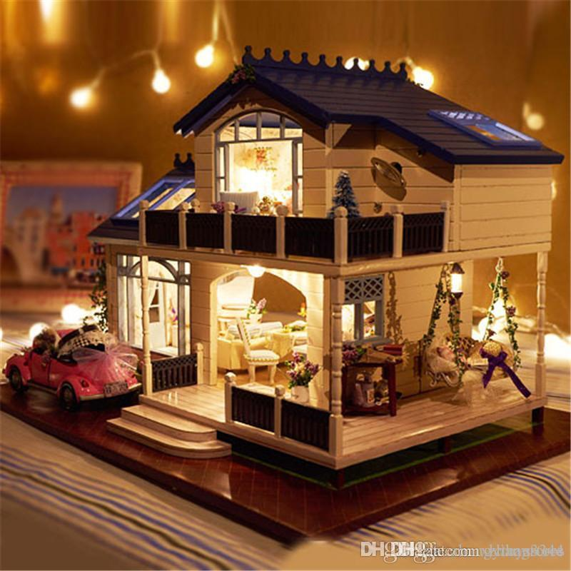 Wholesale-Assembling DIY Miniature Model Kit Wooden Doll House Romantic Provence House Toy with Furnitures & Convertible Gift for Girl