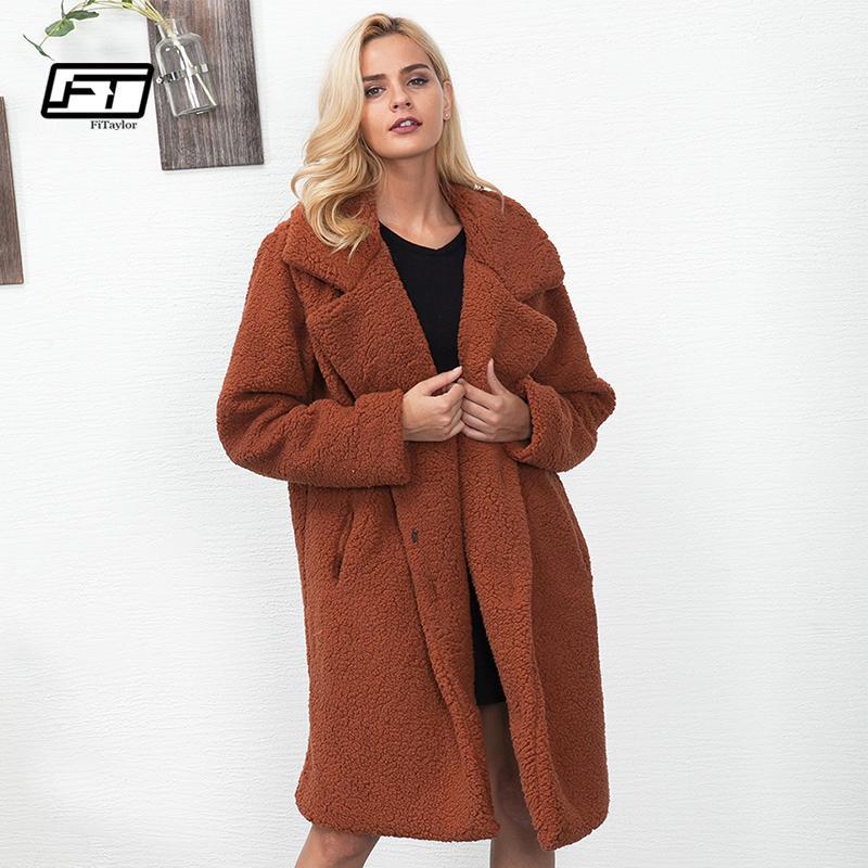 Fitaylor Nouvelles Femmes Manteau De Fourrure D'hiver Fluffy Shaggy Faux Long Manteau De Fourrure Épaisse Veste Chaude Plus La Taille 3XL Outwear Pele