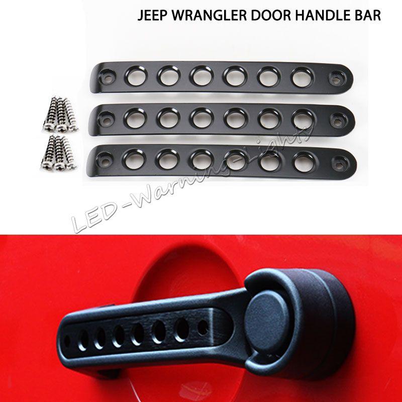 Livraison gratuite 2/4 Portes poignée de barre de moulage pour Jeep Wrangler poignée de voiture styling illimité en aluminium poignée de porte autocollant