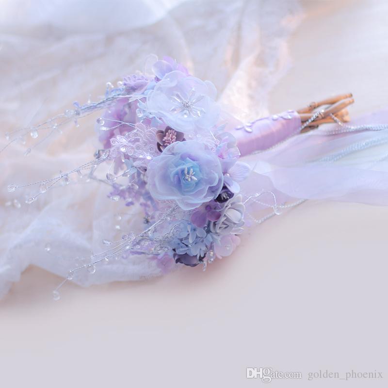 High-end Özel Taç Kar Tanesi Düğün Buketi Kraliyet Prenses Stil Kristal Buket Lavanta Gelin Buketi