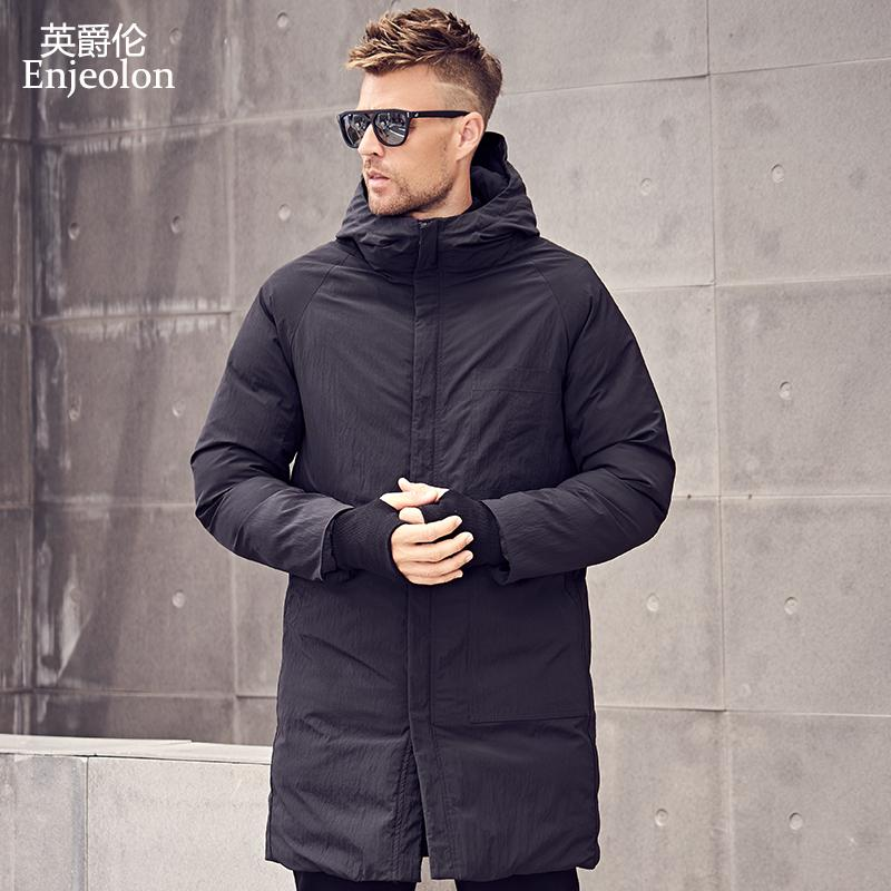 Enjeolon  winter Cotton Padded hooded long Jacket Men thick hoodies Parka coat male Quilted winter jacket Coat 3XL MF0629