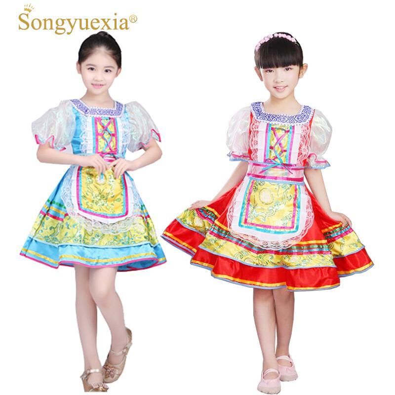 Songyuexia российские национальные костюмы национальной деятельности для детей китайский народное танцевальное платье для девочек современного танцевального платья принцессы
