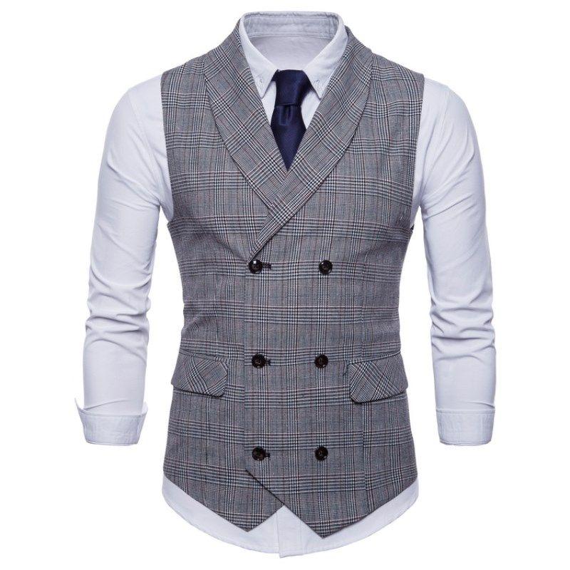 Мужской жилет Британский повседневный костюм жилет мужской двубортный жилет человек мужские топы одежда платье Slim Fit Gilet Homme