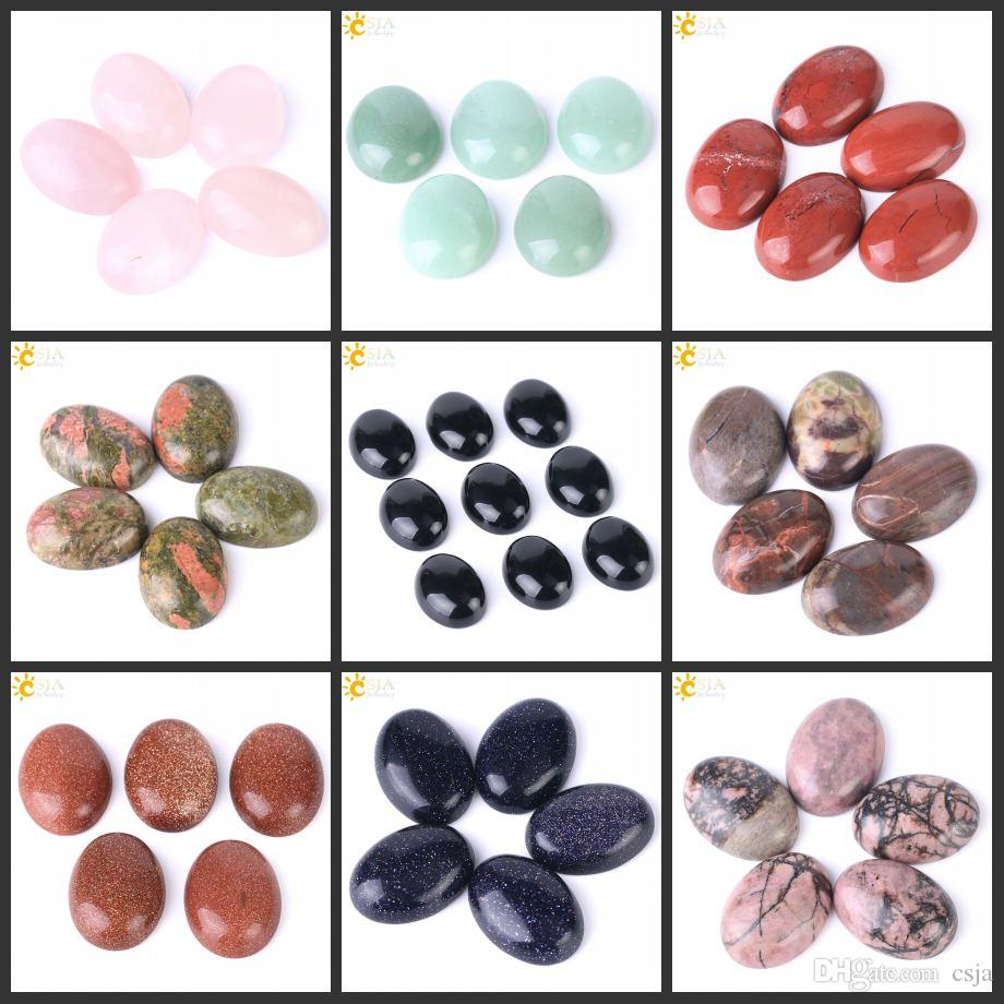 CSJA 1PC Natural Gemstone Cabochon 18x25mm No Hole Oval Chakra Stone CAB Wire Wrap Pendant Earring Rings Men Women DIY Jewelry Making T006