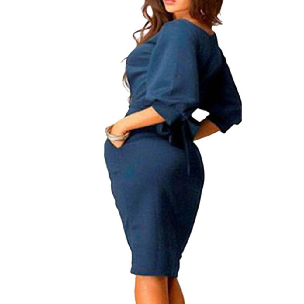Womens-Long-Sleeve-Clubwear-Formal-Evening-OL-Mini-Dress-Bodycon-Hot-SHM4