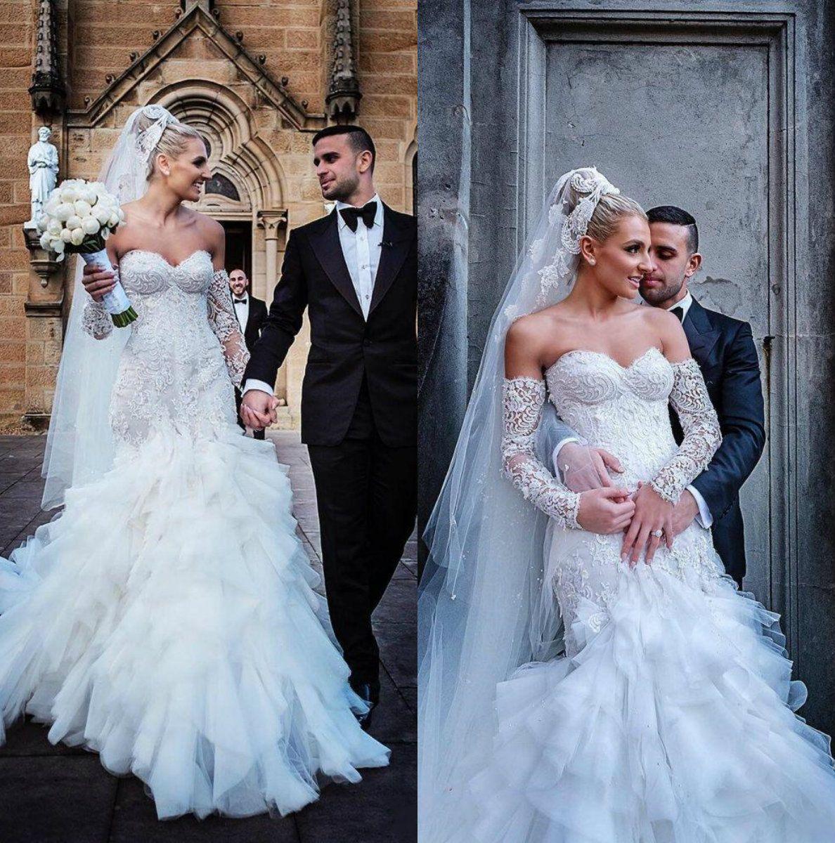 Berta 2019 Wedding Dresses Sweetheart Neck Lace Applique Bridal Gowns Tiered Tulle Floor Length Mermaid Wedding Dress Vestidos De Noiva