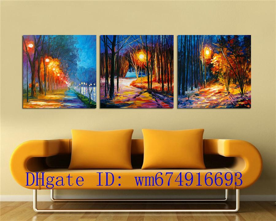 Lámparas Arboles, 3 Piezas Decoración para el hogar HD Impreso Arte Moderno Pintura sobre Lienzo (Sin Marco / Enmarcado)