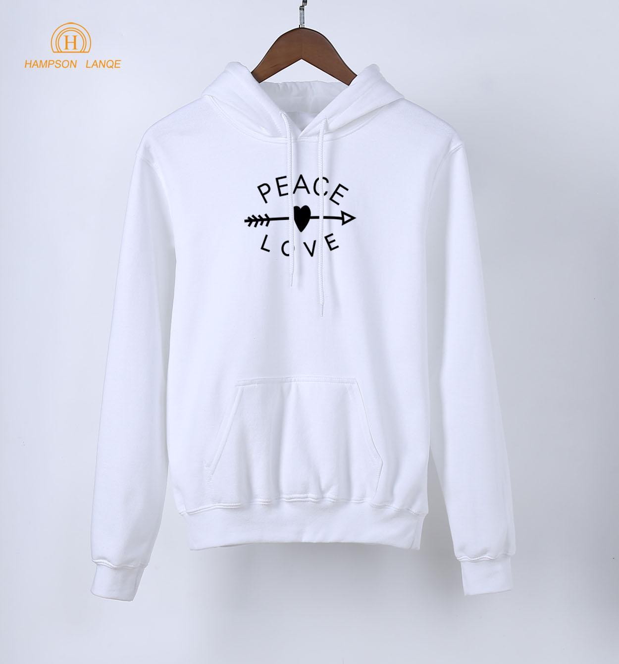 HAMPSON LANQE Frieden Liebe Kawaii Hoodies Für Mädchen 2018 Frühling Warme Fleece Sweatshirts Frauen Langarm Mit Kapuze Marke Kleidung
