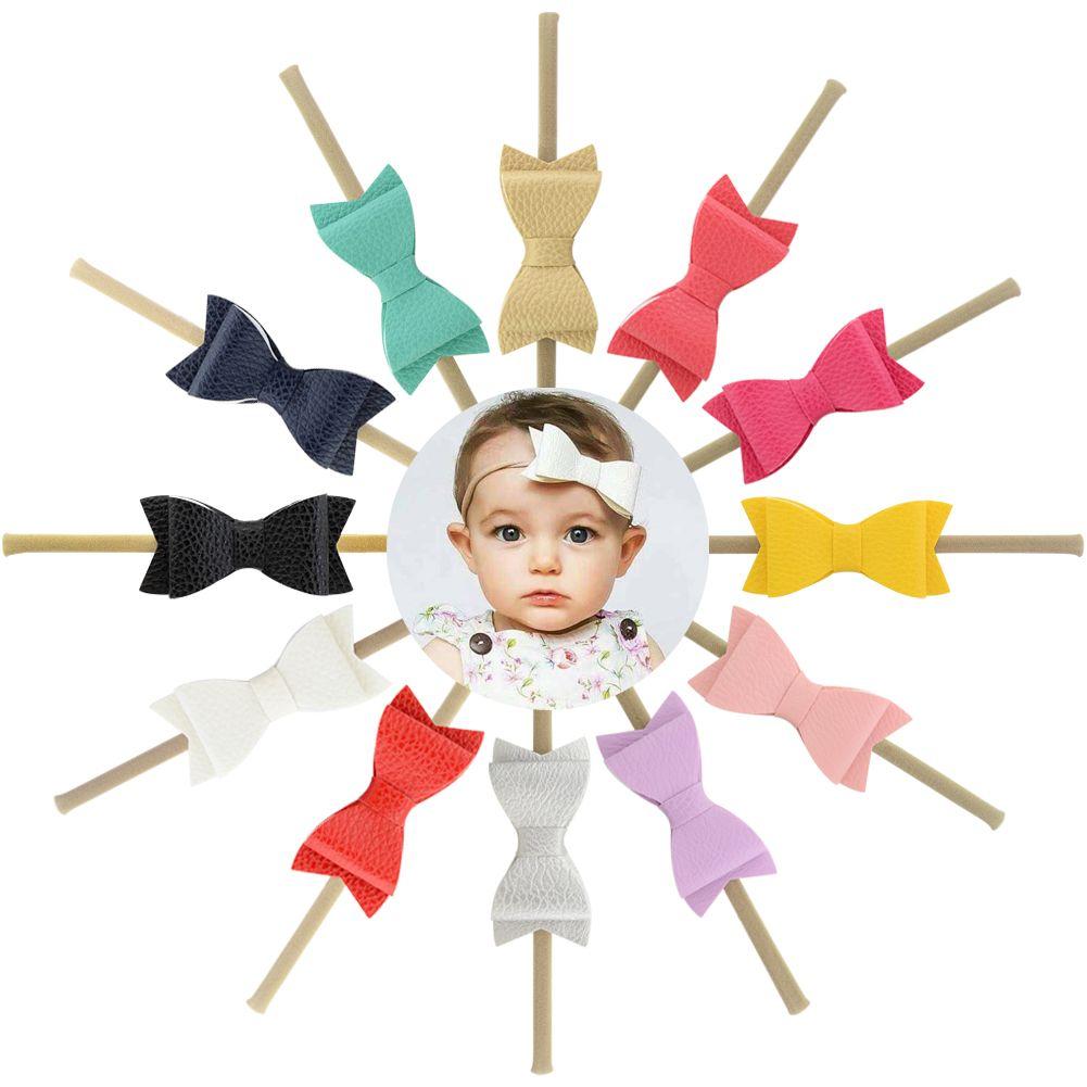 Fashion 5.5 inch Head Wrap Artificial Leather Litchi Stria Bows Nylon Soft Baby Girls Headband Best quality Best price