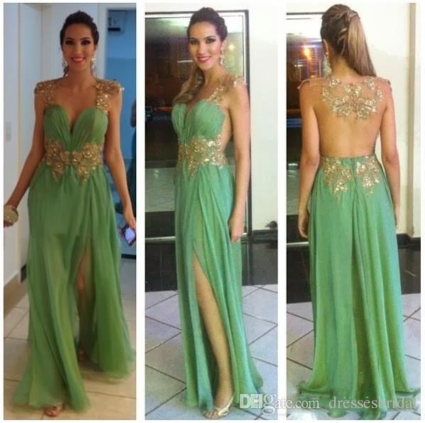 Nuevo estilo con cuello en V vestidos de alfombra roja Ropa de noche Verde gasa oro apliques abalorios huecos vestidos de baile vestido africano