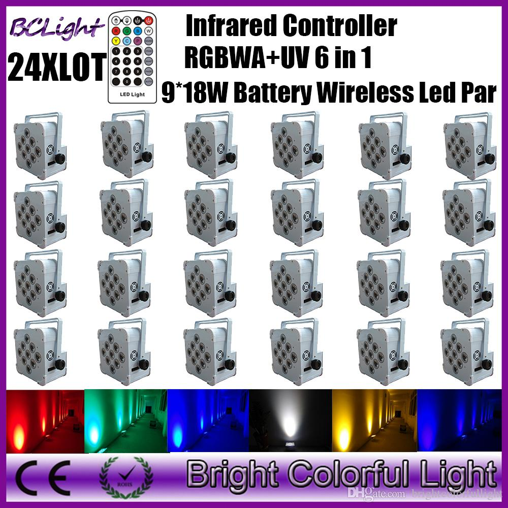 24XLOT wireless dmx uv up lights Infrared Remote led par dj lights 9*18W RGBWA UV Battery Powered Led Par light print free LOGO