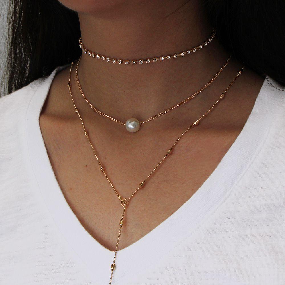 Трехслойные Ожерелья Подвески Имитация жемчужного ожерелья с подвесками из нескольких слоев для женщин