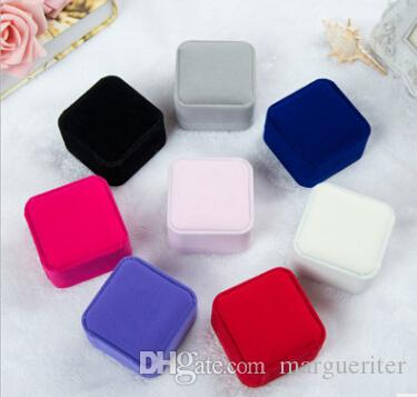 Velvet Jewelry Storage Box Earring Display Organizer Square Elegant Wedding Ring Case Necklace Container Gift Boxes