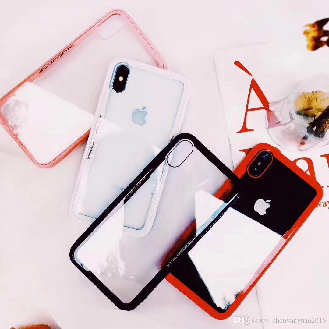 Moda clássico phone case shell para iphone x 8 8 além de vidro temperado tampa traseira foriphone 7 6 plus tpu borda