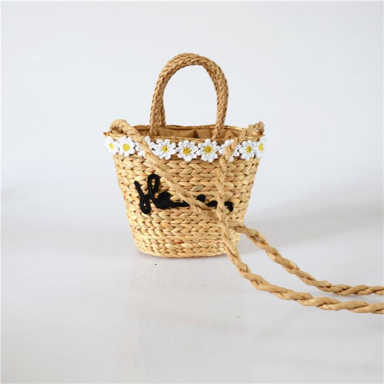 Small daisy bag new ZA flower straw bag rural style fashion handbag weaving gourd grass simple and durable handcuffs shoulder bag
