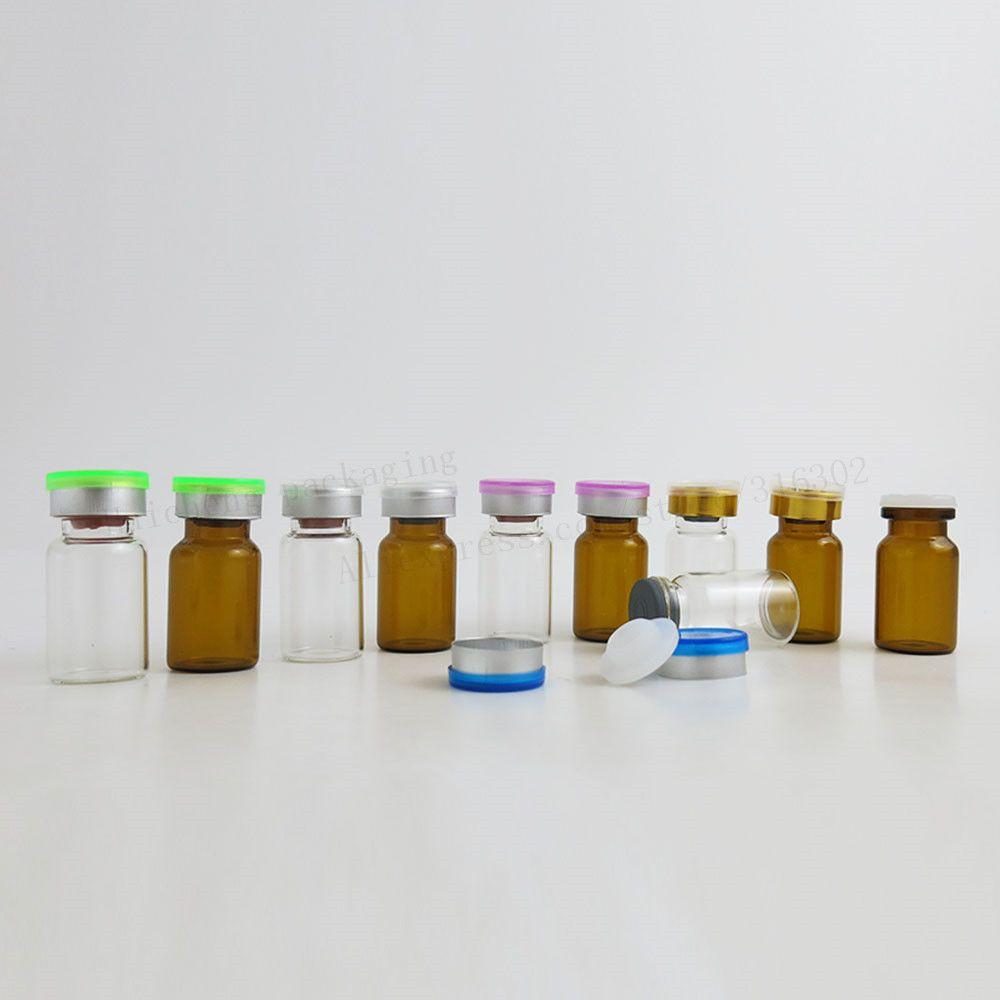500 x 7ML temizle kehribar cam flakonlar ile kapaklar kapalı kauçuk tıpalar 1/3 oz enjeksiyonlu cam şişe ilaç şişesi