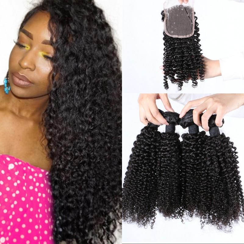 Kinky Curly Human Hair with Lace Closure Unprocessed Mongolian Hair Bundles with 4x4 Closure Cheap Hair Weaves FDshine