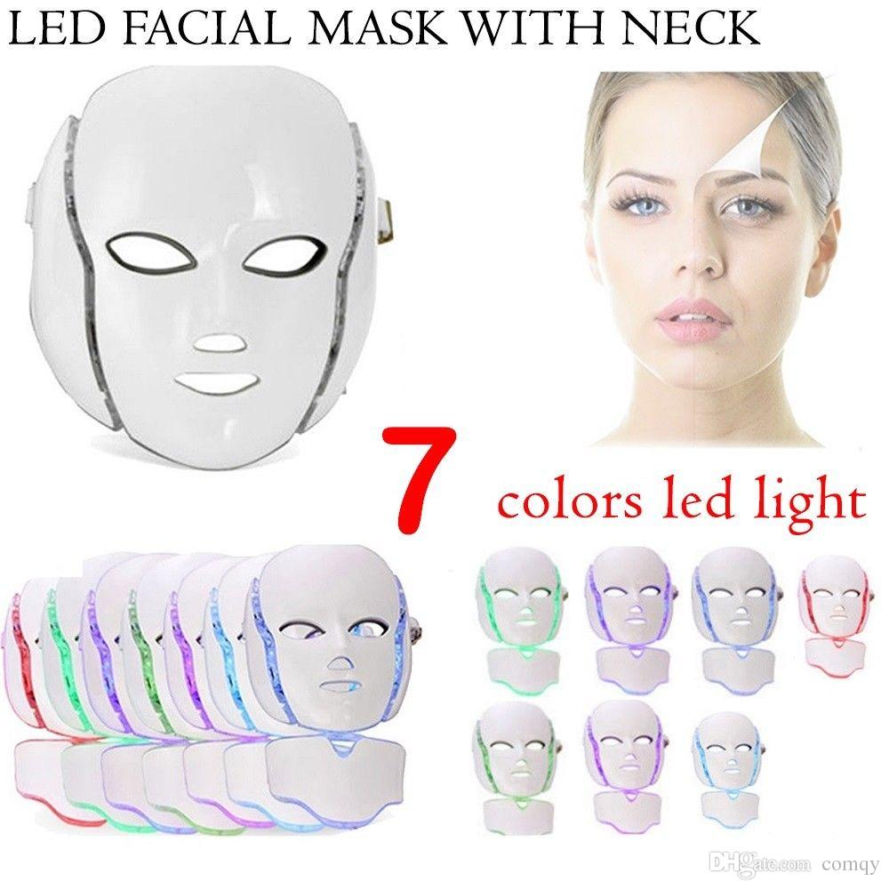 7 Color LED Facial Neck Mask EMS Microelectronics LED Photon Mask Wrinkle Removal Skin Rejuvenation For Face and Neck Beauty