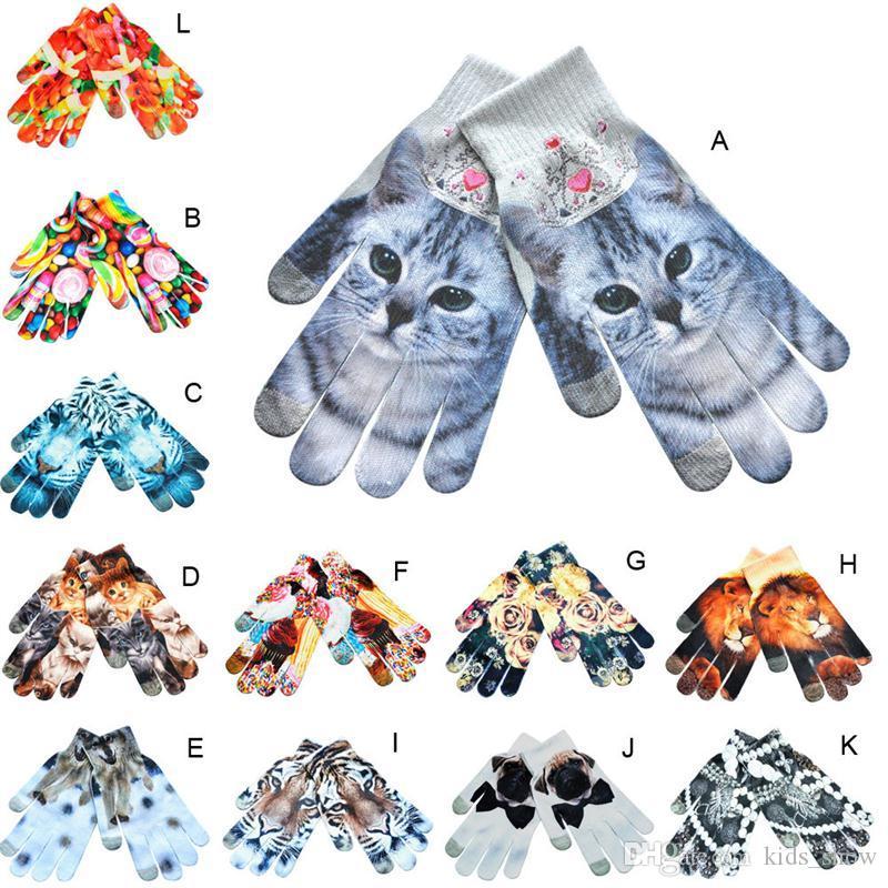 Mężczyźni Kobiety Dzieci Winter 3D Druku Rękawiczki Soft Cat Dog Dzianiny Rękawiczki Ciepłe Ekran Dotykowy Rękawica