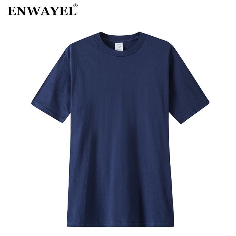 ENWAYEL 2018 Estate Solid 100% Cotone Casual T Shirt Uomo O-Collo Maniche corte Maglietta allentata Mens Top Tee Qualità T-Shirt Uomo