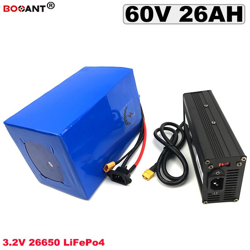 60V LiFePO4 Lithium-Batterie 3,2 V 19S 26650 Akku 26Ah für elektrische Fahrrad-Batterie 60V EU US AU keine Steuer / Duty Free Shipping