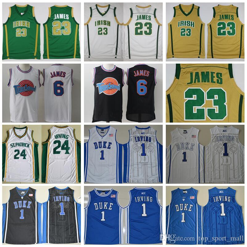 meet e2c49 7a0c5 2019 St Vincent Mary High School Irish 23 LeBron James Jerseys White Green  St. Patrick Kyrie Irving Basketball Jersey Tune Squad Duke Blue Devils From  ...