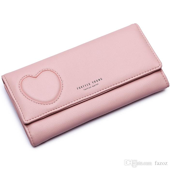 Fashion Lady Lover Heart Long PU Leather Wallet Card Holder Money Bag Cell Phone Holder Purse Fresh Girls Student Women Gift Clutch Wallet
