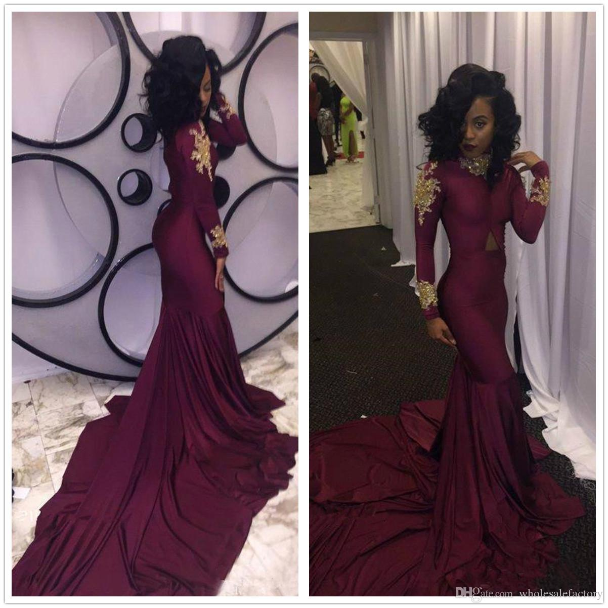 2018 Black Grils Long Sleeves Satin Mermaid Prom Dresses High Neck Gold Lace Applique Beaded Cutout Formal Evening Party Dresses