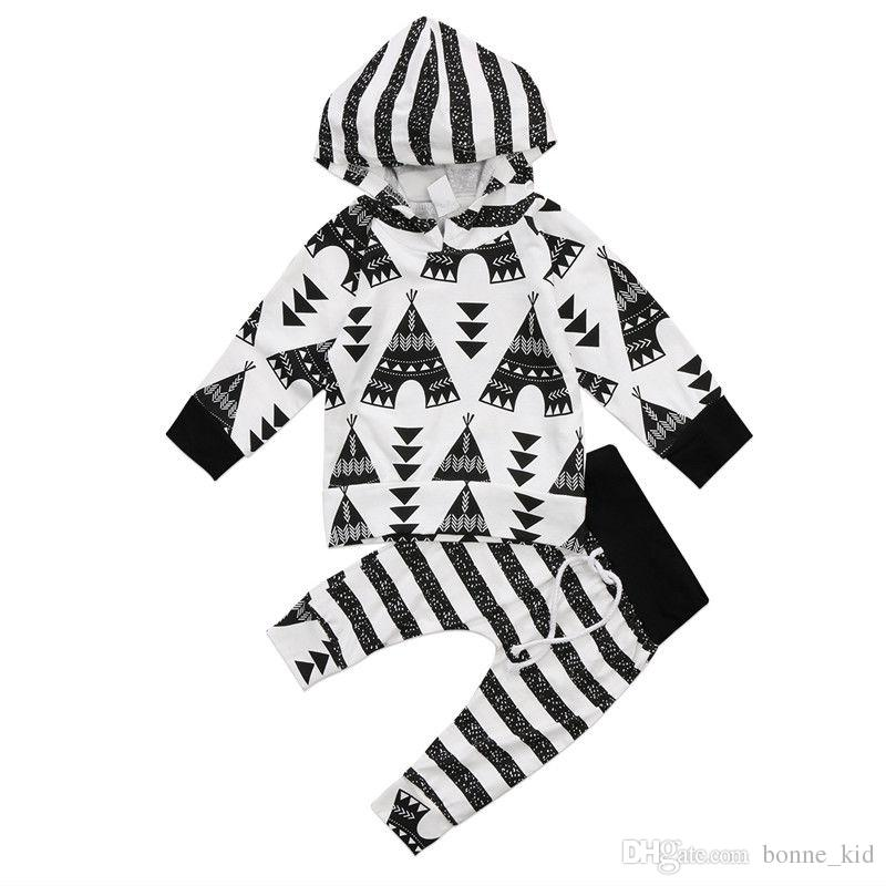 Striped Hoodie Baby Kids Boys Clothes Top + Pants Outfits 2PCS Set Newborn Baby Cotton Clothing Geometric Boutique Black White Toddler 0-24M