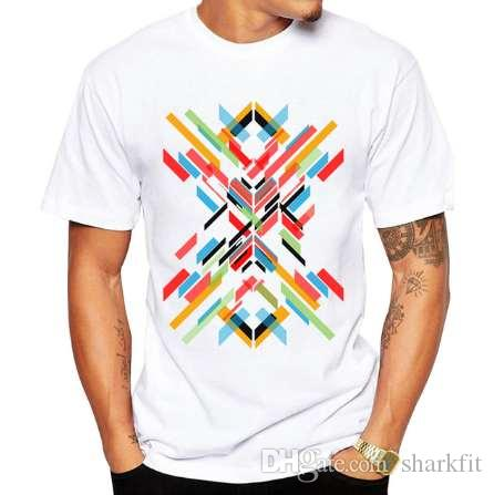 2018 Fashion Retro Wood/ Record Printed Men T shirt Short Sleeve Casual t-shirt Hipster Fractal Pattern tees Cool Tops