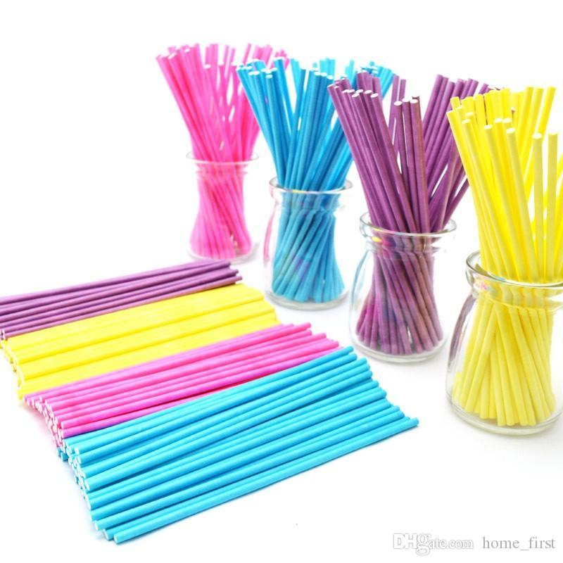 Environmental Food Grade 15CM 100pcs Colorful Solid Pure Wood Pulp Baking Lollipops Paper Sticks Chocolate Candy Handle Rod