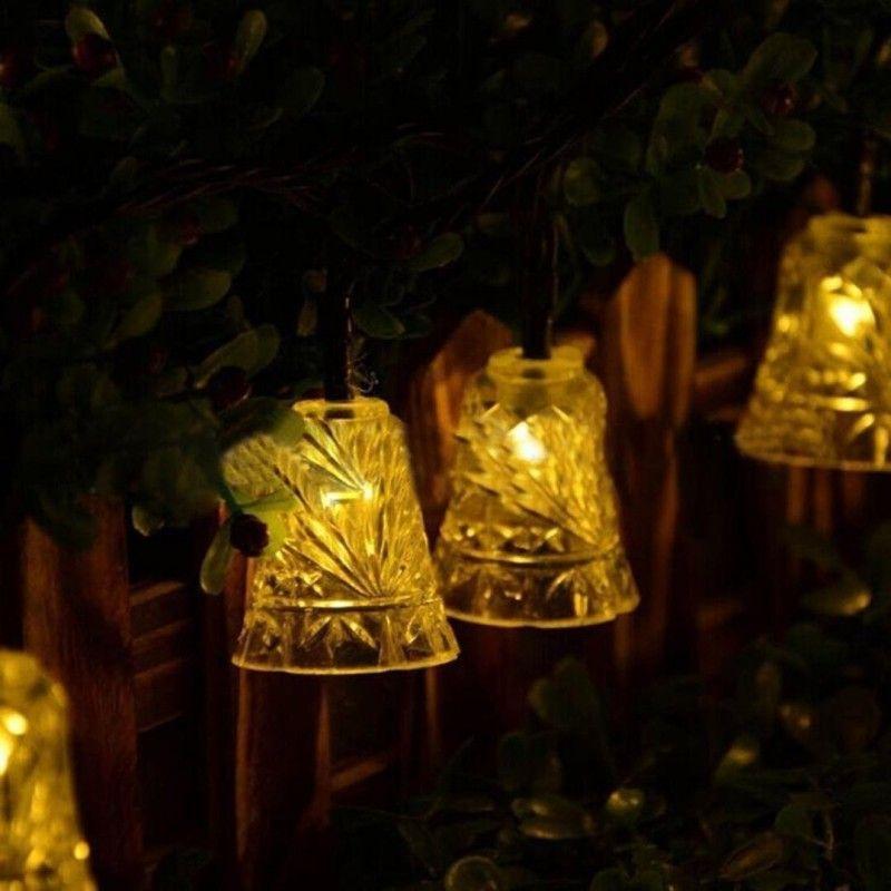 Рождественские строки света 20 светодиодные солнечные лампы водонепроницаемый открытый колокола Фея сад Дерево колокол Новый год сад украшения Оптовая челнока