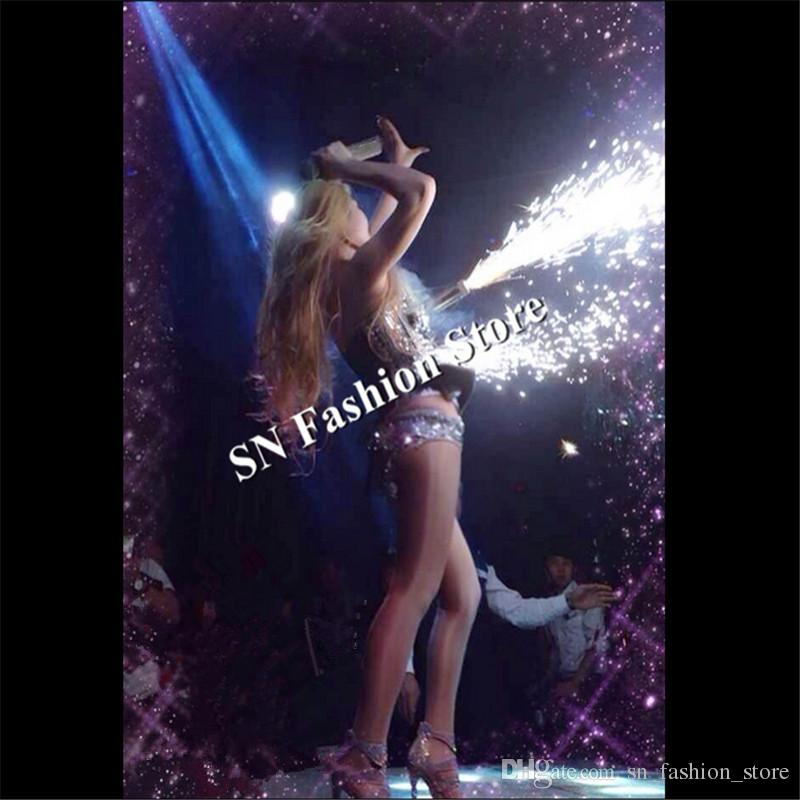 WX54 Singer cold fireworks dj clothing Silver mirror ballroom dance bar dress bra party disco cloth model stage laser costumes performance