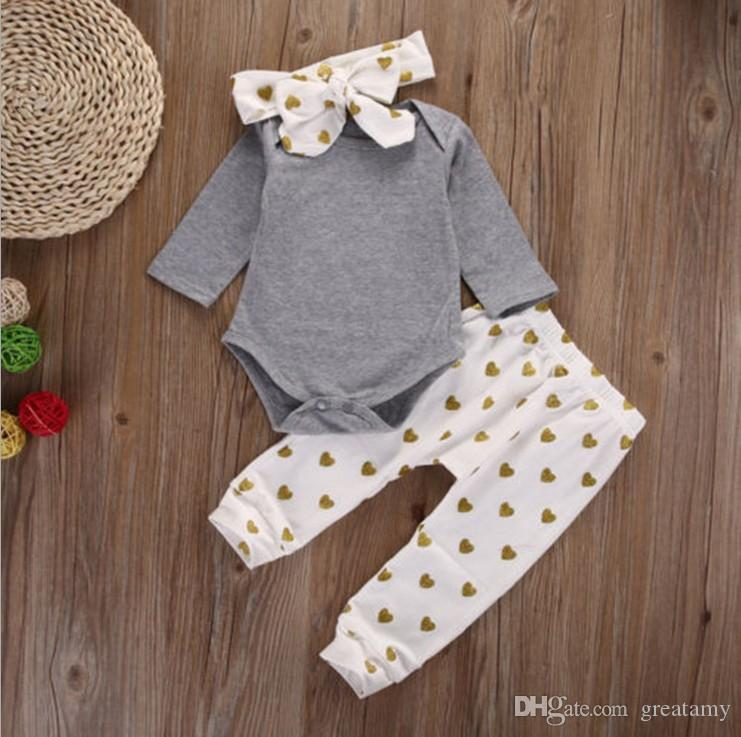 Cute newborn infant baby girls clothes T-shirt tops+pants leggings+headband outfits 3pcs/set baby romper suit free shipping