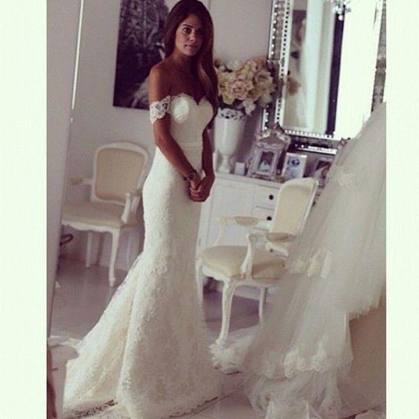 Vintage Off The Shoulder Mermaid Wedding Dresses Short Sleeve Lace Applique Backless Sweep Train Modest Bridal Gowns
