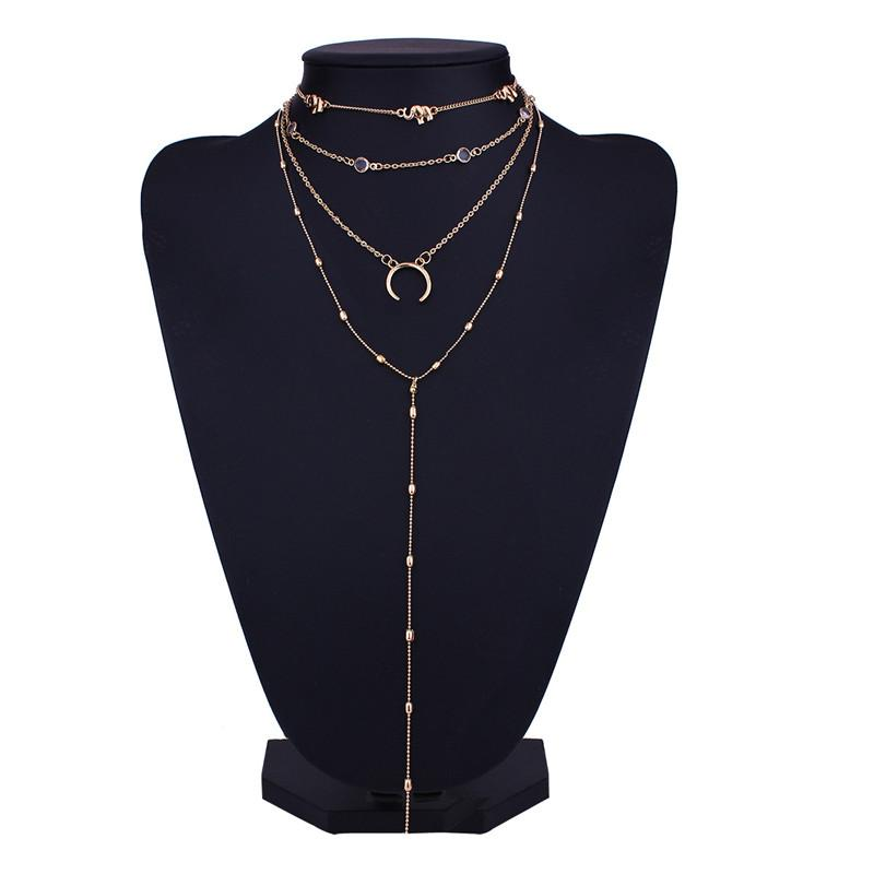 Fashion Simple Style Chokers Cute Elephant Moon Small Element Pendant Multilayer Necklace Sexy Lady Clavicle Chain