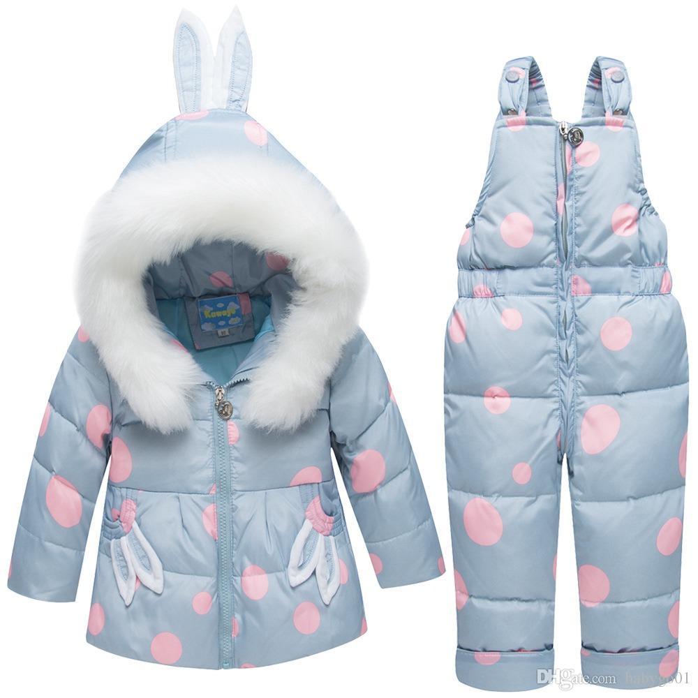 الفتيات في فصل الشتاء مجموعات ملابس الأطفال الدافئة أسفل جاكيتات طفلة Snowsuit بدلة تزلج فتاة أسفل قميص معطف + السراويل الشاملة