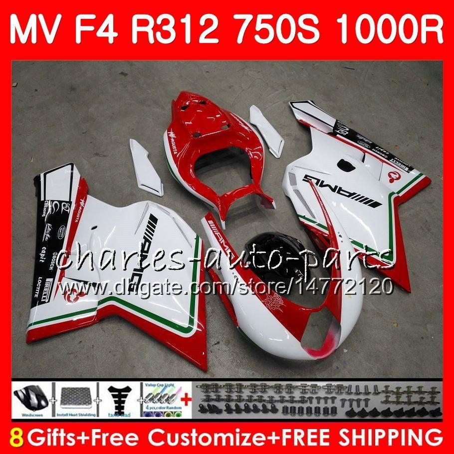 Ciało dla MV Agusta F4 R312 750S 1000 R 750 1000CC 05 06 102HM10 750 S 1000R 312 1078 1 + 1 mA MV F4 2005 2006 05 06 Owalnia Gorąca Sprzedaż Biały Zestaw
