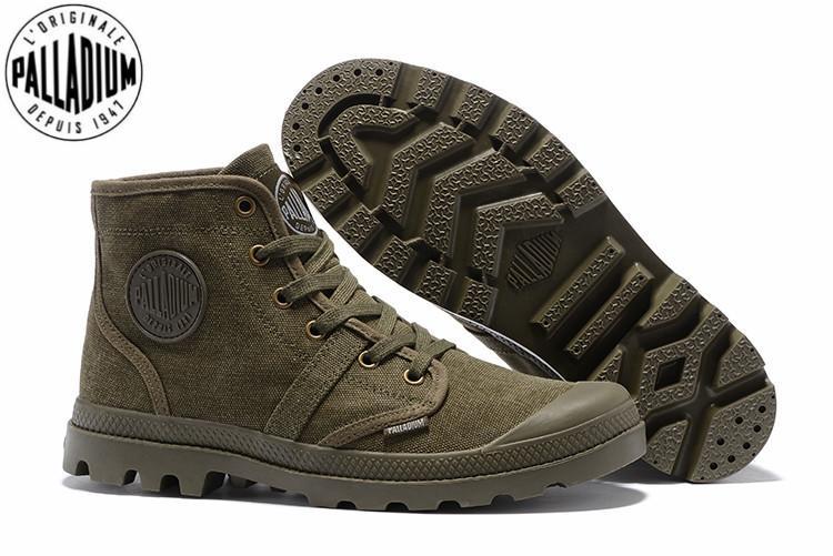 Палладий Пампа Привет 52352 армия зеленый кроссовки удобные высокое качество ботильоны зашнуровать холст мужчины Повседневная обувь размер 39-45