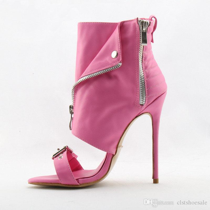 Marca de moda aberto dedo do pé rosa ouro branco com zíper de design salto fino botas de gladiador curto tornozelo envoltório fivela de salto alto tornozelo botas