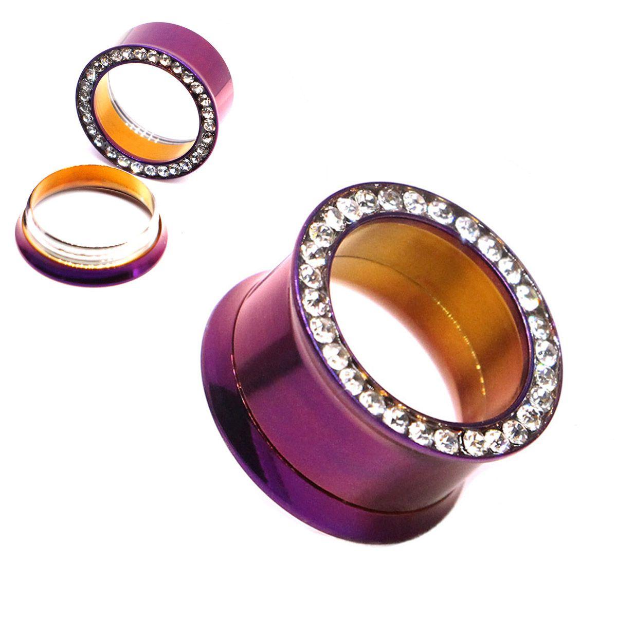 Flesh Tunnel Plug Stretcher Expamder Purple Screw Ear 3-10mm Gauges