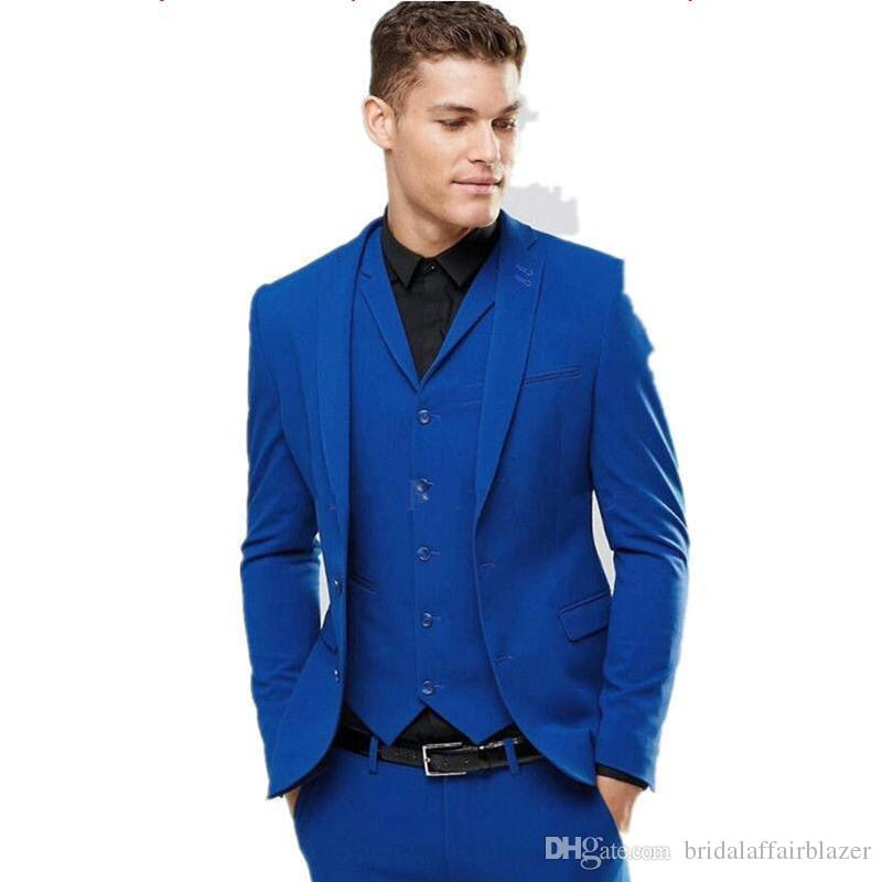 2018 Brand Royal Blue Men 3 Piece Suit Wedding Tuxedos Excellent Groom Tuxedos Men Business Dinner Prom Party Blazer(Jacket+Pants+Tie+Vest)