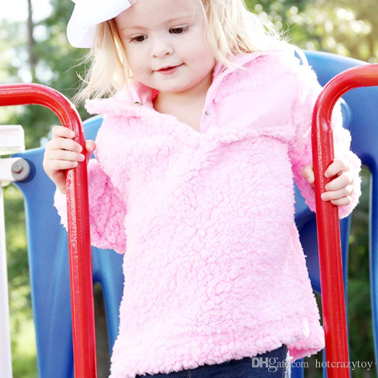 KIDS winter Coats Hooded manderin collar Wear Casual Sherpa Jacket for kids Winter Jacket Coat Sherpa Sweatshirt Baby jumper sweater