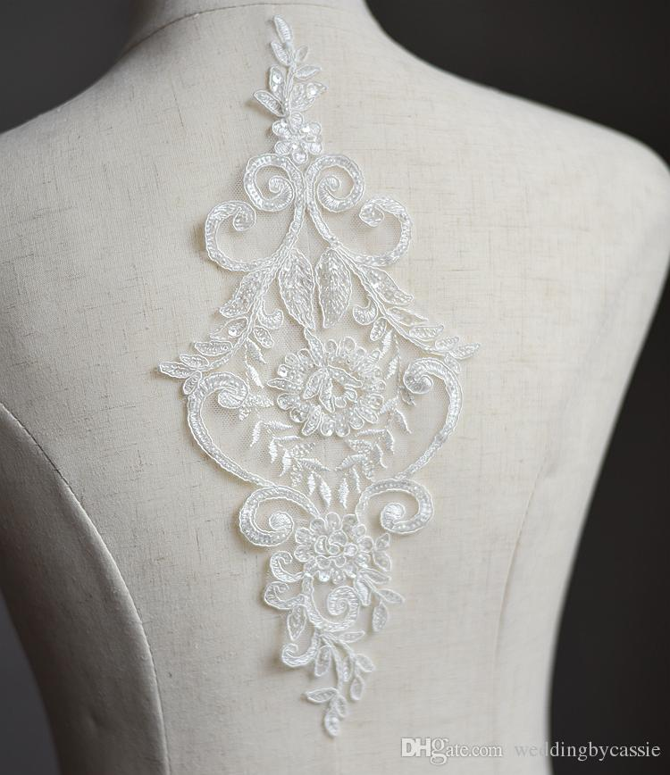 Large Sequins Floral Beaded Lace Applique Rhinestones For Costume Bridal Dress