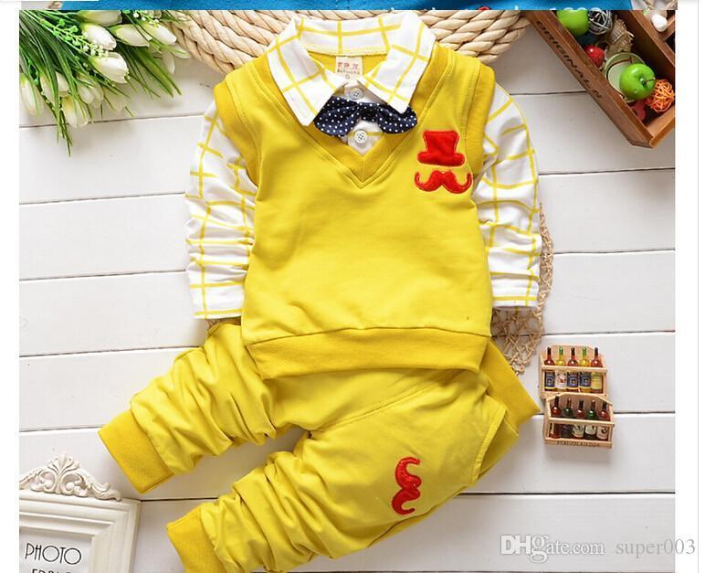 İlkbahar sonbahar Bebek boys noel kıyafetleri giyim setleri ürünleri çocuk giyim seti babi boys yanlış 2 adet t-shirt + pantolon